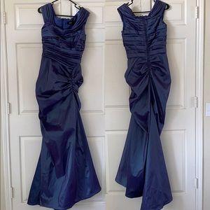 Blue purple indigo shimmery ruched formal dress